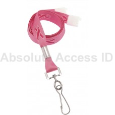 PINK RIBBON BREAST CANCER, ON PINK LANYARD (100 Qty)
