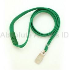 "3/8"" Wide Green Break-Away Lanyard w/Bull Dog Clamp (100 Qty)"