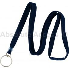 """3/8"""" Wide Navy Blue Break-Away Lanyard w/Split Ring (100 Qty)"""