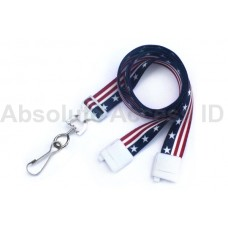 "5/8"" Wide Break-Away Stars and Stripes Lanyard with Swivel Hook End Fitting (100 Qty)"