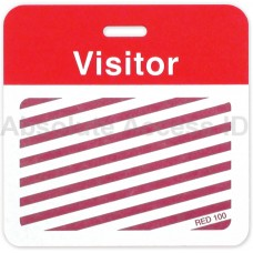 """Clip-on BACKpart - Half Day/One Day -  """"VISITOR"""" (Red)"""