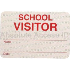 "Manual Expiring SCHOOLbadge- ""VISITOR"" (Red)"