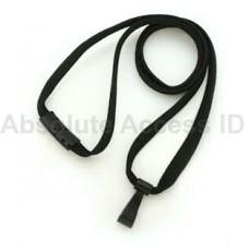 """3/8"""" Wide Black Break-Away Lanyard w/ no Flip Wide Plastic Hook (100 Qty) Series"""